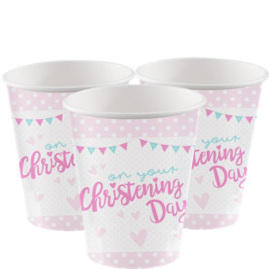 Christening Day Pink Cups - 255ml Paper Party Cups, Party supplier, party decor, corporate party supplier, London Party supplier, Christening Party, Wandsworth Party Supplier, ginger ray, party delights, USA Party Supplier, EU Party Supplier