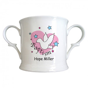 Dove & Hearts Pink Baptism Bone China Loving Cup