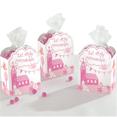 First Holy Communion Pink Favour Gift Boxes, holy communion, personalised gifts, table decorations, pink theme, london gift shop, religious gifts, tooting gift shop, tooting market, baptism gifts, chistening gifts, confirmation gifts, baby shower gifts, balloons decor