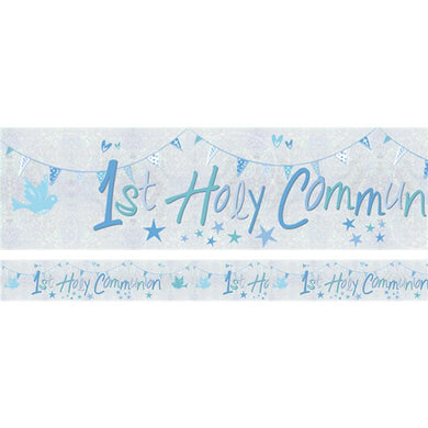 First Holy Communion Blue Holographic Foil Banner - 2.7m, holy communion, personalised gifts, table decorations, pink theme, london gift shop, religious gifts, tooting gift shop, tooting market, baptism gifts, chistening gifts, confirmation gifts, baby shower gifts, balloons decor