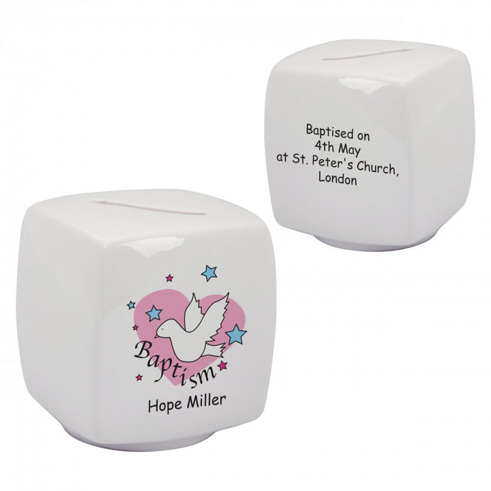 Dove & Hearts Pink Baptism Bone China Moneybox
