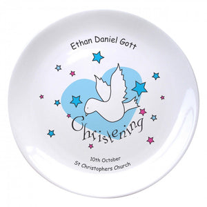 "Dove & Hearts Blue Christening 8"" Coupe Plate, naming day, naming day gifts, christening gifts, gifts for babies, baby gifts, gifts for girls, gifts for boys, ceramic gifts, cermaic plates, plate gifts, tooting shops, london shops, gift shops, newborn gifts, babyshower gifts, personalised gifts, money box, godchild gifts, godparent gifts, gift shops, london shops, tooting shops, dove gifts"
