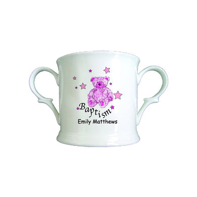 Teddy & Stars Pink Baptism Bone China Loving Cup
