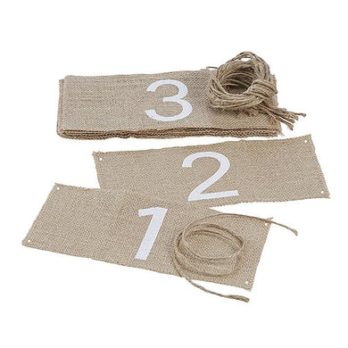 A Vintage Affair Hessian Wedding Table Numbers 1-12, ginger ray, not on the high street, wedding decorations, wedding shop tooting, tooting gift shop, party shop, party supplier, wedding decor, table decorations, london gift shop, party pieces, party shop, usa party supplies, europe party supplies, mauritius party supplies
