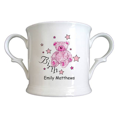 Teddy & Stars Pink Birth Bone China Loving Cup