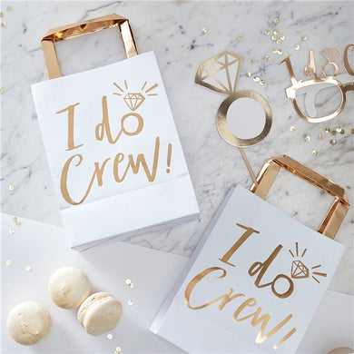 'I Do Crew!' Gold Foil Paper Party Bags - 26cm Party supplier, party decor, corporate party supplier, London Party supplier, Christening Party, Wandsworth Party Supplier, ginger ray, party delights, USA Party Supplier, EU Party Supplier, baby shower supplier, hen party décor, hen party balloons, team bride decorations,