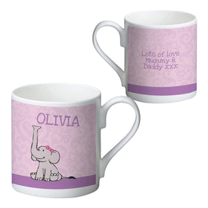 Baby Girl Elephant Bone China Mug, Personalised gifts, personalised photos, gifts for newborn, baby gifts, unique gifts, engraved gifts, wooden gifts, photo gifts, tooting shop, london shops, melinas gifts shop, birthday gifts, christmas gifts, personalised mugs, personalised cups, elephant gifts, breakfast bowls, childrens bowls