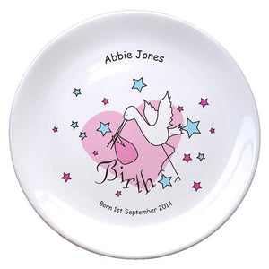 "Stork Pink Birth 8"" Bone China Coupe Plate, naming day, naming day gifts, christening gifts, gifts for babies, baby gifts, gifts for girls, gifts for boys, ceramic gifts, cermaic plates, plate gifts, tooting shops, london shops, gift shops, newborn gifts, babyshower gifts, personalised gifts, money box, godchild gifts, godparent gifts"