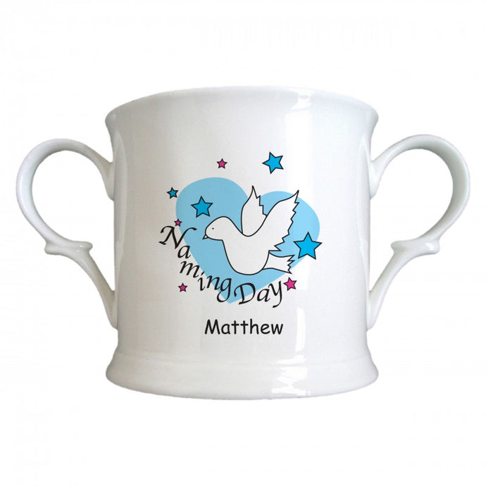 Dove & Hearts Blue Naming Day China Loving Cup