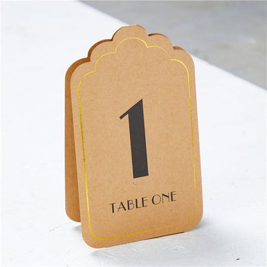 Kraft & Gold Table Number Placecards 1-12, ginger ray, not on the high street, wedding decorations, wedding shop tooting, tooting gift shop, party shop, party supplier, wedding decor, table decorations, london gift shop, party pieces, party shop, usa party supplies, europe party supplies, mauritius party supplies