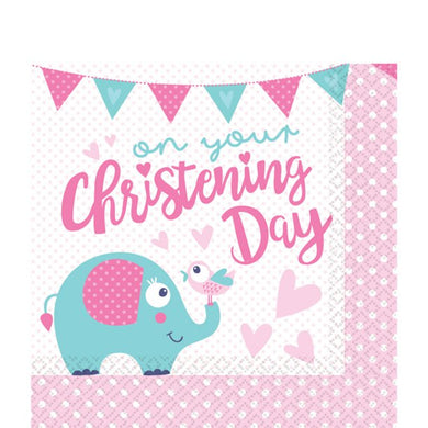 Christening Day Pink Paper Napkins - 33cm