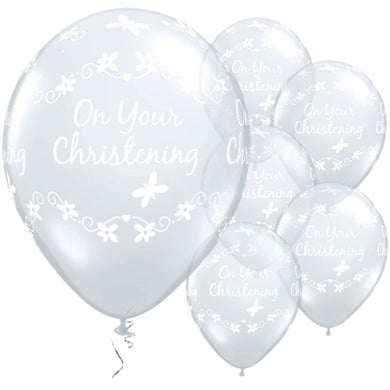On Your Christening Diamond Clear Butterflies Balloons - 11