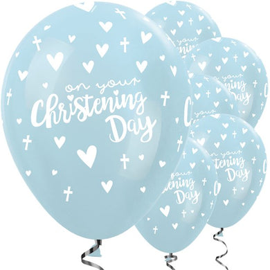 Blue Christening Day Latex Balloons - 11