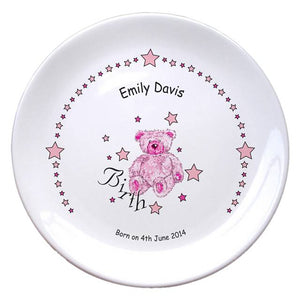 "Teddy & Stars Pink Birth 8"" Bone China Coupe Plate, naming day, naming day gifts, christening gifts, gifts for babies, baby gifts, gifts for girls, gifts for boys, ceramic gifts, cermaic plates, plate gifts, tooting shops, london shops, gift shops, newborn gifts, babyshower gifts, personalised gifts, money box, godchild gifts, godparent gifts"