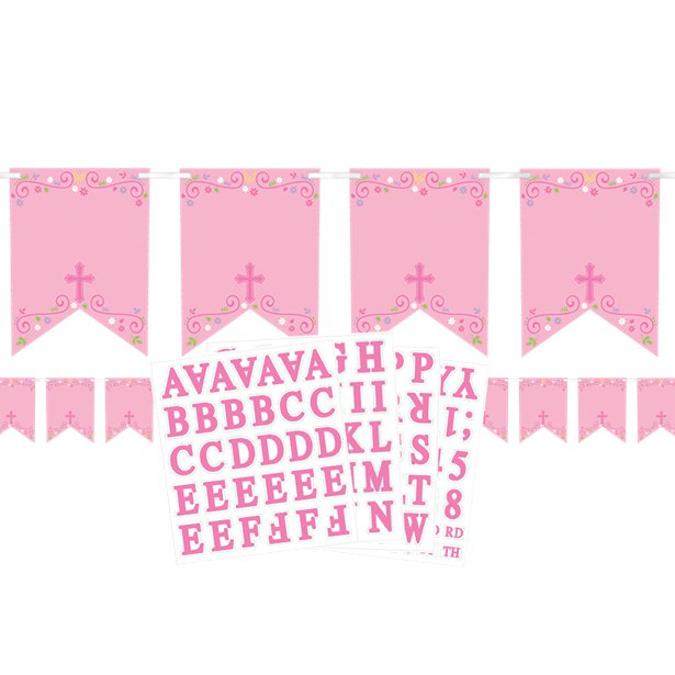 Pink Cross Personalised Bunting - 2.4m, Party supplier, party decor, corporate party supplier, London Party supplier, Christening Party, Wandsworth Party Supplier, ginger ray, party delights, USA Party Supplier, EU Party Supplier, baby shower supplier