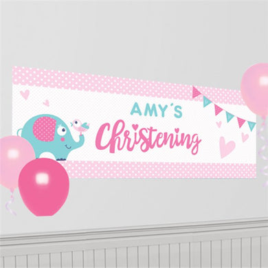 Christening Day Pink Personalised Banner - 1.2m, Party supplier, party decor, corporate party supplier, London Party supplier, Christening Party, Wandsworth Party Supplier, ginger ray, party delights, USA Party Supplier, EU Party Supplier, baby shower supplier