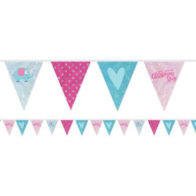 Christening Day Pink Holographic Foil Bunting - 4m , Party supplier, party decor, corporate party supplier, London Party supplier, Christening Party, Wandsworth Party Supplier, ginger ray, party delights, USA Party Supplier, EU Party Supplier, baby shower supplier