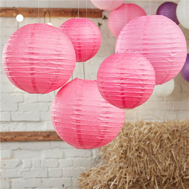 Boho Wedding Hot Pink Paper Lanterns - 30cm & 20.5cm, ginger ray, not on the high street, wedding decorations, wedding shop tooting, tooting gift shop, party shop, party supplier, wedding decor, table decorations, london gift shop, party pieces, party shop, usa party supplies, europe party supplies, mauritius party supplies