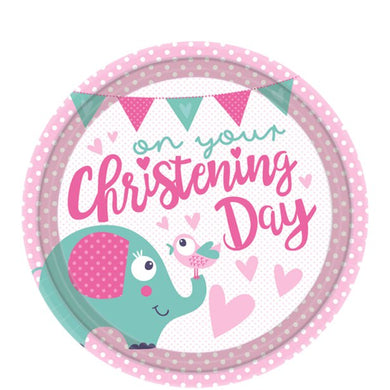 Christening Day Pink Plates - 23cm Paper Party Plates, Party supplier, party decor, corporate party supplier, London Party supplier, Christening Party, Wandsworth Party Supplier, ginger ray, party delights, USA Party Supplier, EU Party Supplier