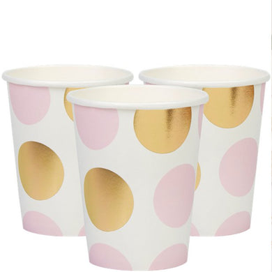 Pattern Works Pink Polka Dots Paper Cups - 255ml, Party supplier, party decor, corporate party supplier, London Party supplier, Christening Party, Wandsworth Party Supplier, ginger ray, party delights, USA Party Supplier, EU Party Supplier, baby shower supplier