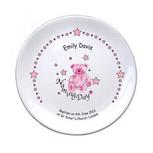 "Teddy & Stars Pink Naming 8"" Coupe Plate, naming day, naming day gifts, christening gifts, gifts for babies, baby gifts, gifts for girls, gifts for boys, ceramic gifts, cermaic plates, plate gifts, tooting shops, london shops, gift shops, newborn gifts, babyshower gifts"