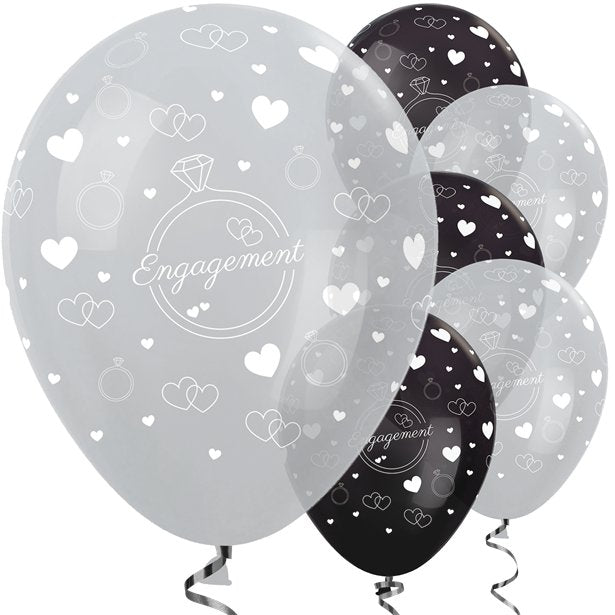 Silver & Black Engagement Balloons - 12