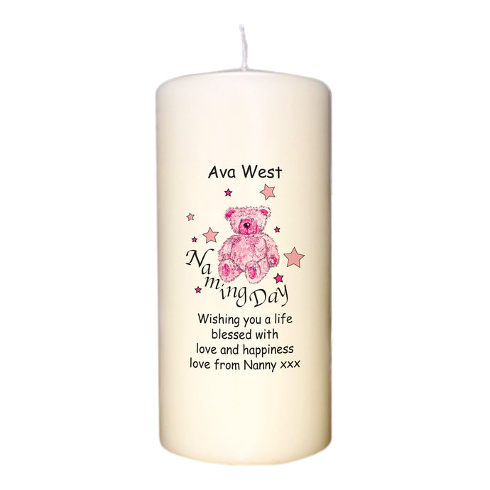 Teddy & Stars Pink Naming Day Candle