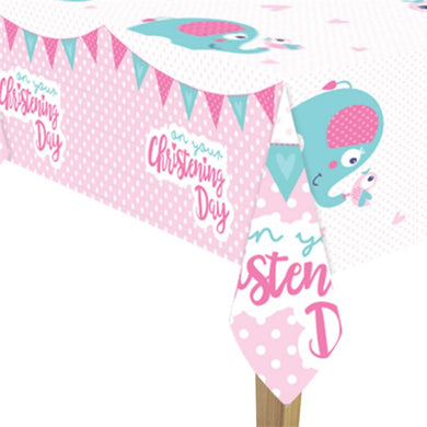 Christening Day Pink Plastic Tablecover - 1.8m x 1.2m, Party supplier, party decor, corporate party supplier, London Party supplier, Christening Party, Wandsworth Party Supplier, ginger ray, party delights, USA Party Supplier, EU Party Supplier