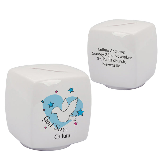 Dove & Hearts Blue Godson Bone China Moneybox, naming day, naming day gifts, christening gifts, gifts for babies, baby gifts, gifts for girls, gifts for boys, ceramic gifts, cermaic plates, plate gifts, tooting shops, london shops, gift shops, newborn gifts, babyshower gifts, personalised gifts, money box, godchild gifts, godparent gifts, gift shops, london shops, tooting shops