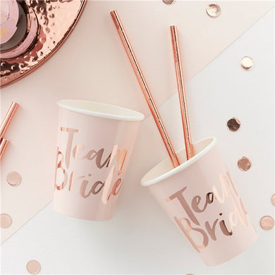 Team Bride Rose Gold Paper Cups - 255ml, Party supplier, party decor, corporate party supplier, London Party supplier, Christening Party, Wandsworth Party Supplier, ginger ray, party delights, USA Party Supplier, EU Party Supplier, baby shower supplier, hen party décor, hen party balloons, team bride decorations