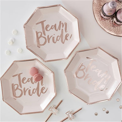 Team Bride Rose Gold Paper Plates - 25cm, Party supplier, party decor, corporate party supplier, London Party supplier, Christening Party, Wandsworth Party Supplier, ginger ray, party delights, USA Party Supplier, EU Party Supplier, baby shower supplier, hen party décor, hen party balloons, team bride decorations