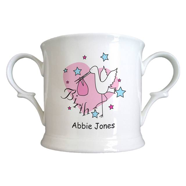 Stork Pink Birth Bone China Loving Cup