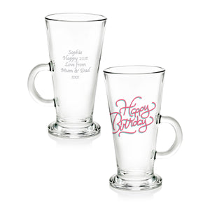 Happy Birthday Glass Latte Mug