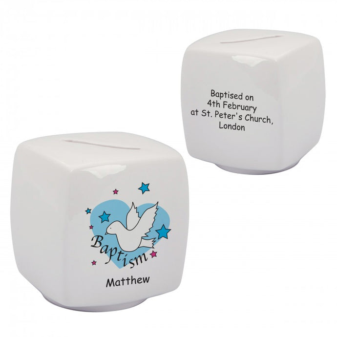 Dove & Hearts Blue Baptism Bone China Moneybox