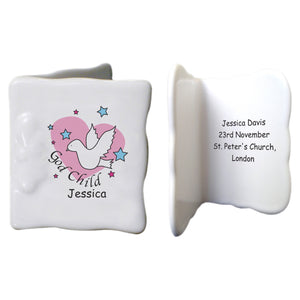 Dove & Hearts Pink Godchild Bone China Message Card
