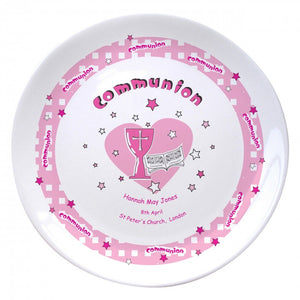 "Pink Heart Holy Communion 8"" Coupe Plate, naming day, naming day gifts, christening gifts, gifts for babies, baby gifts, gifts for girls, gifts for boys, ceramic gifts, cermaic plates, plate gifts, tooting shops, london shops, gift shops, newborn gifts, babyshower gifts, personalised gifts, money box, godchild gifts, godparent gifts, first holy communion gifts"