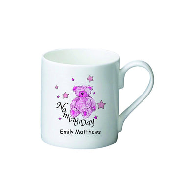 Teddy & Stars Pink Naming Day Bone China Mug