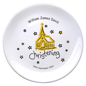 "Church Christening 8"" Bone China Coupe Plate, naming day, naming day gifts, christening gifts, gifts for babies, baby gifts, gifts for girls, gifts for boys, ceramic gifts, cermaic plates, plate gifts, tooting shops, london shops, gift shops, newborn gifts, babyshower gifts, personalised gifts, money box, godchild gifts, godparent gifts, gift shops, london shops, tooting shops"