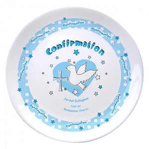 "Blue Heart Confirmation 8"" Bone China Coupe Plate, naming day, naming day gifts, christening gifts, gifts for babies, baby gifts, gifts for girls, gifts for boys, ceramic gifts, cermaic plates, plate gifts, tooting shops, london shops, gift shops, newborn gifts, babyshower gifts, personalised gifts, money box, godchild gifts, godparent gifts, gift shops, london shops, tooting shops"