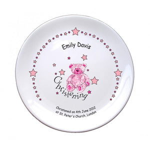 "Teddy & Stars Pink Christening 8"" Coupe Plate, naming day, naming day gifts, christening gifts, gifts for babies, baby gifts, gifts for girls, gifts for boys, ceramic gifts, cermaic plates, plate gifts, tooting shops, london shops, gift shops, newborn gifts, babyshower gifts, personalised gifts, money box, godchild gifts, godparent gifts"