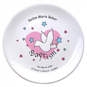"Dove & Hearts Pink Baptism 8"" Coupe Plate"