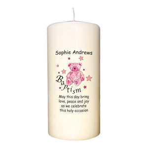 Teddy & Stars Pink Baptism Candle