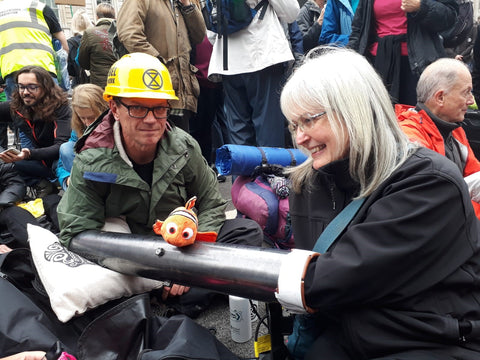 Extinction Rebellion locking on at Whitehall Downing Street October 2019