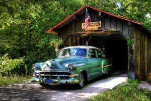 Chevy Bel Air through a Covered Bridge