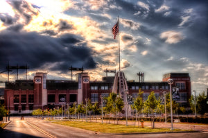 Light shines over Lambeau Field in Green Bay