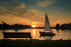 Sailing into Neenah Harbor at Sunset