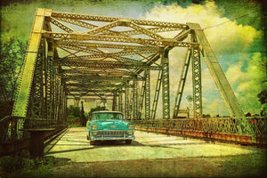 Chevy Bel Air entering bridge
