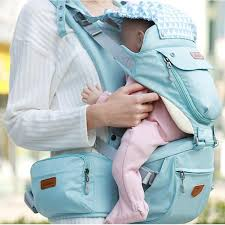 All purpose, multiple pouch, hooded baby carrier for all season with pastel colours