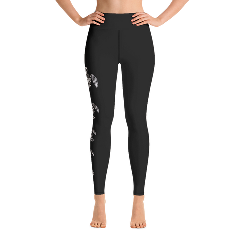 Tribal Sea Turtle Leggings Black