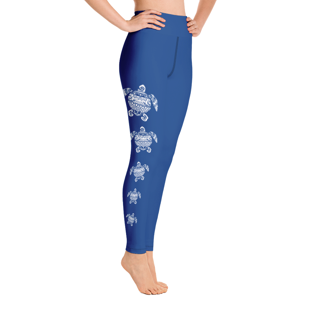 Tribal Sea Turtle Leggings Blue
